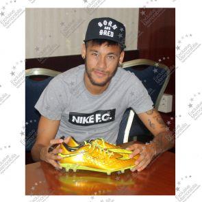 Deluxe Framed Neymar Jr Signed Nike Hypervenom Gold Football Boot
