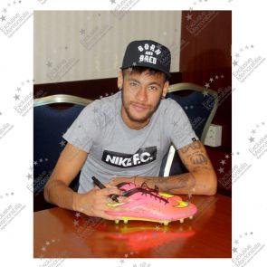 Deluxe Framed Neymar Jr Signed Nike Hypervenom Crimson Football Boot