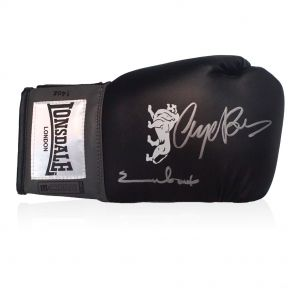 Nigel Benn And Chris Eubank Dual Signed Black Boxing Glove In Gift Box