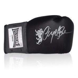 Nigel Benn Signed Black Boxing Glove In Display Case