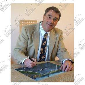 Nigel Mansell Signed Photograph: Wheel To Wheel. In Deluxe Black Frame With Silver Inlay