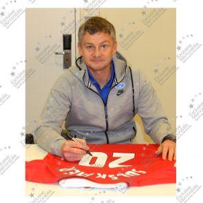 Ole Gunnar Solskjaer Signed 1999 Manchester United Champions League Shirt. In Deluxe Black Frame