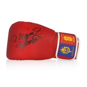 Framed Manny Pacquiao Signed Red Boxing Glove