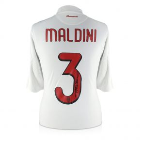 Paolo Maldini Signed 2008-09 AC Milan Player Issue Away Shirt In Gift Box