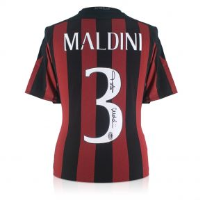 Paolo Maldini Signed 2015-16 AC Milan Home Shirt In Gift Box
