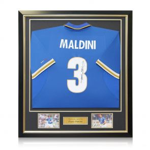 Framed Paolo Maldini Signed Italy Shirt