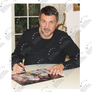 Paolo Maldini Signed AC Milan Football Photo: Champions League Goal. Framed