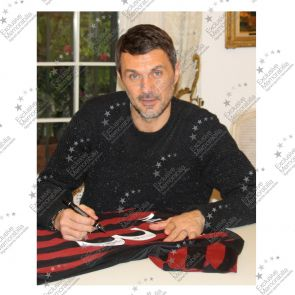 Paolo Maldini Signed AC Milan Football Shirt 2015-16. In Gift Box