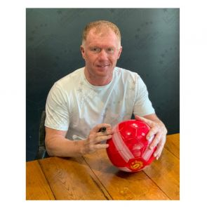 Paul Scholes Signed Manchester United Football Red. In Display Case