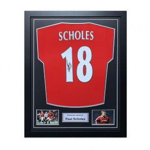 Paul Scholes Signed Manchester United Shirt 1998. Framed