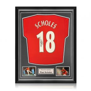 Paul Scholes Signed Manchester United Shirt. Superior Frame