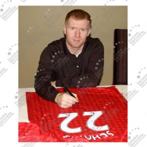 Paul Scholes Signed Manchester United Football Shirt. 2012-13. Framed