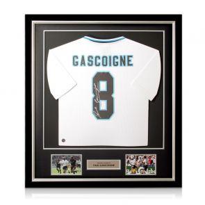 Paul Gascoigne Signed England Euro 1996 Shirt. Deluxe Frame