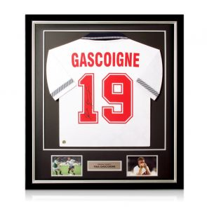 Paul Gascoigne Signed England 1990 Shirt. Deluxe Frame