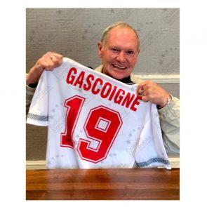 Paul Gascoigne Signed England 1990 Shirt. Premium Frame