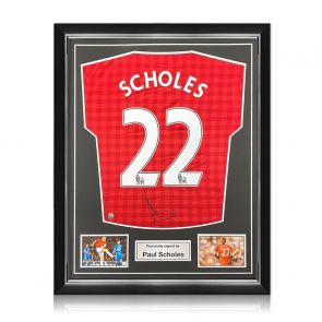 Paul Scholes Signed Manchester United Shirt 2012-13. Superior Frame