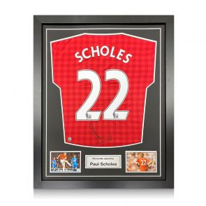 Paul Scholes Signed Manchester United Shirt 2012-13. Framed