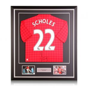 Paul Scholes Signed Manchester United Football Shirt. 2012-13. Deluxe Frame