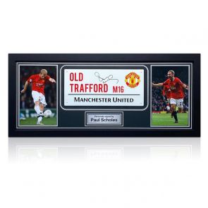 Paul Scholes Signed Manchester United Street Sign. Framed