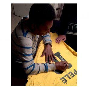 Pele Back Signed Brazil Shirt. Deluxe Frame