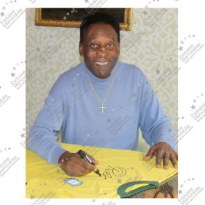 Pele Signed Brazil 1970 Football Shirt. Damaged Stock C