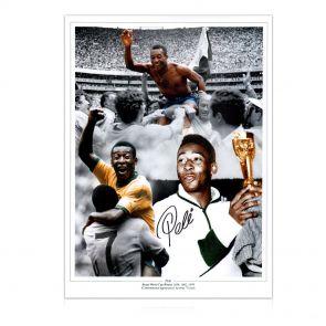 Pele Signed Football Photo: Career Montage