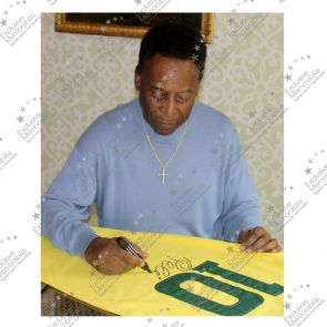 Pele Signed Number 10 Brazil Football Shirt Framed