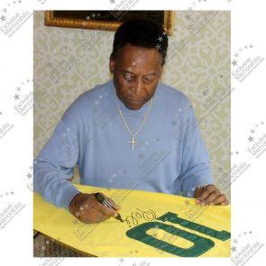 Pele Signed Number 10 Brazil Football Shirt. Deluxe Frame