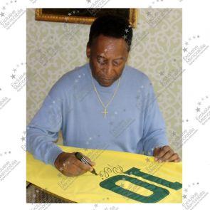 Pele Signed Brazil Football Shirt: Number 10. Standard Frame