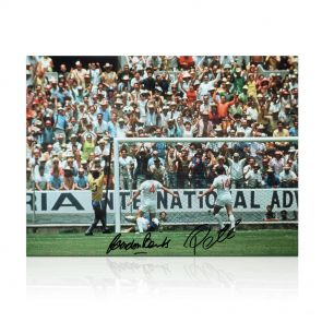 Pele And Gordon Banks Signed Photo: The Greatest Save. In Gift Box