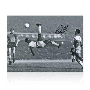 Pele Signed Photo: Overhead Kick. In Gift Box
