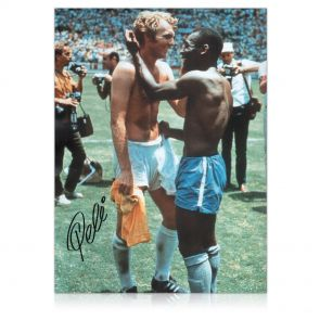 Pele Signed Photo: With Bobby Moore. In Gift Box