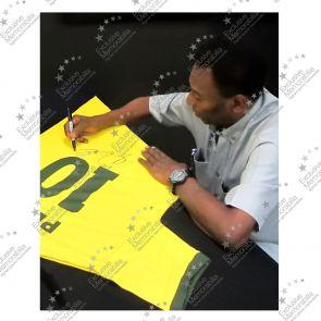 Gold Framed Pele Number 10 Brazil Football Shirt