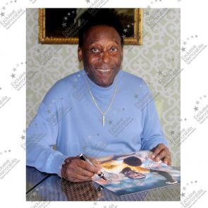 Pele Signed Photo: With Jairzinho In Deluxe Black Frame With Gold Inlay
