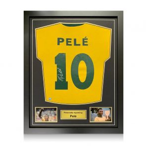 Pele Back Signed Brazil Shirt. Framed