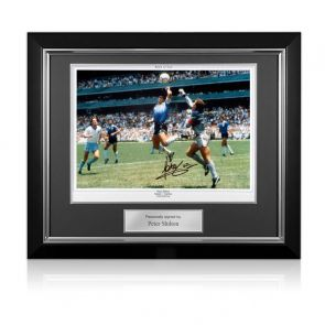 Peter Shilton Signed England Photo: The Hand Of God. Deluxe Frame