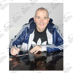 Phil Taylor Signed Darts Photo: Feel The Power. Framed
