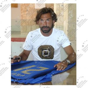 Andrea Pirlo Signed Italy 2006 World Cup Winners Football Shirt (Deluxe Framed With Gold Inlay)