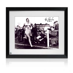 Framed Roger Bannister Signed Photograph: First Under 4 Minute Mile