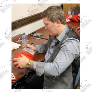 Ricky Hatton Signed Red Everlast Boxing Glove, In Bubble Dome Frame