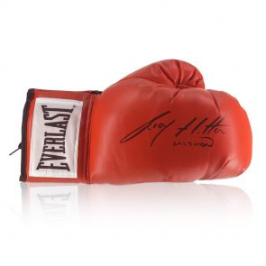 Ricky Hatton Signed Red  Everlast Boxing Glove In Display Case
