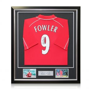 Framed Robbie Fowler Back Signed 2001 Liverpool Shirt