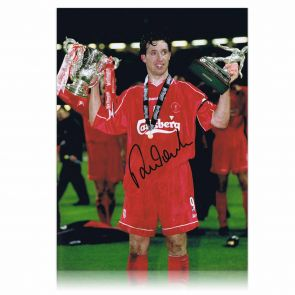 Robbie Fowler Signed Liverpool Photo: Worthington Cup MOM. In Gift Box