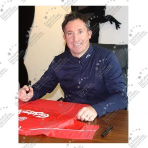 Framed Robbie Fowler Front Signed 2001 Liverpool Shirt With Commemorative Embroidery