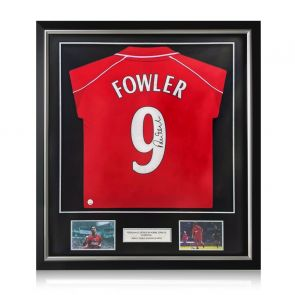 Robbie Fowler Signed Liverpool 2001 Shirt. Number 9. Deluxe Frame
