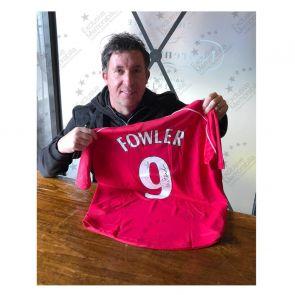 Robbie Fowler Signed Liverpool 2001 Shirt. Number 9. Standard Frame