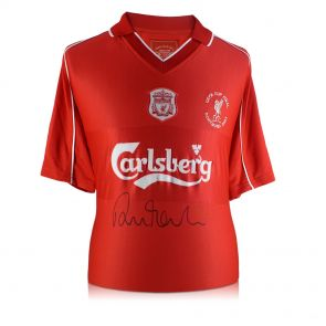 Robbie Fowler Front Signed 2001 Liverpool Shirt With Commemorative Embroidery. In Gift Box