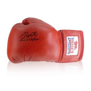 Roberto Duran Signed Red Boxing Glove In Display Case