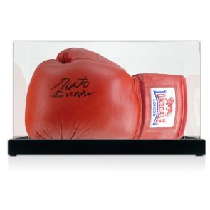 Signed Roberto Duran Boxing Glove In Display Case