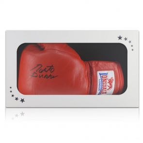 Signed Roberto Duran Boxing Glove In Gift Box